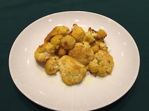 Roasted cauliflower with garlic, ginger and turmeric